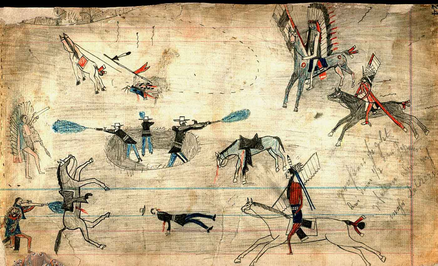 Kiowa ledger drawing of Buffalo Wallow battle. (Texas Archeological Research Laboratory, The University of Texas at Austin)