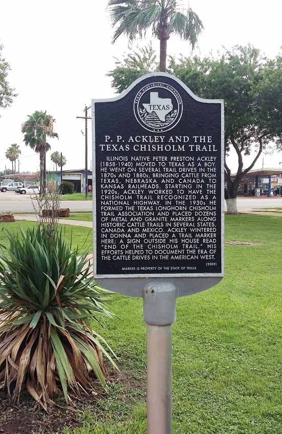 Narrative marker titled P.P. Ackley and the Texas Chisholm Trail
