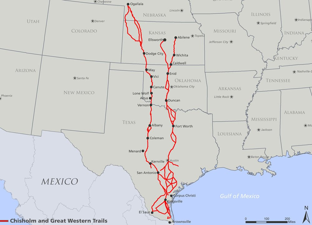 Texas Travel - Chisholm trail map