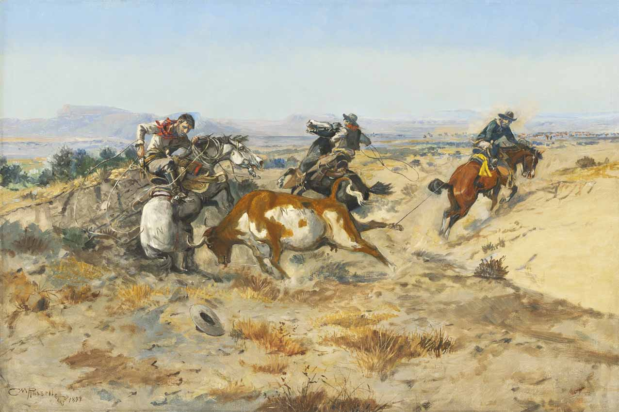 Charles M. Russell, When Cowboys Get in Trouble, 1899, Oil on canvas, Sid Richardson Museum